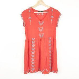 THML Orange Embroidered Boho Dress, Small
